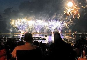 072608HarborFireworks1JM photo by Jennifer Meyers  People watch the fireworks display during Oswego Harborfest in Oswego Saturday evening.