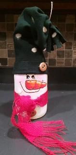 paint n sip snowman bottle with scarf and hat